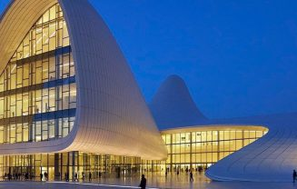 Baku Heydar Aliyev Center that was designed by Zaha Hadid.