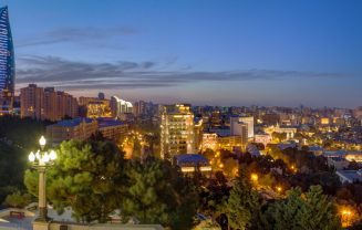 Baku night view from the Highland Park.